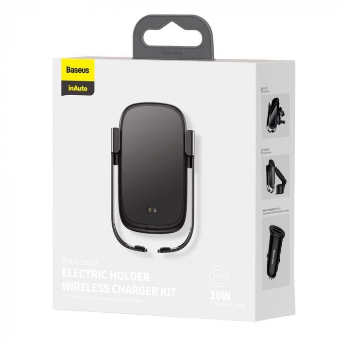 Suport auto Baseus 5in1  Wireless 10 W Qi Charger + incarcator auto + 2 prinderi +  cablu micro USB WXHW01-B01 6