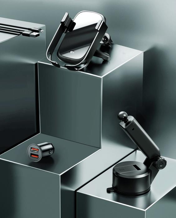 Suport auto Baseus 5in1  Wireless 10 W Qi Charger + incarcator auto + 2 prinderi +  cablu micro USB WXHW01-B01 8