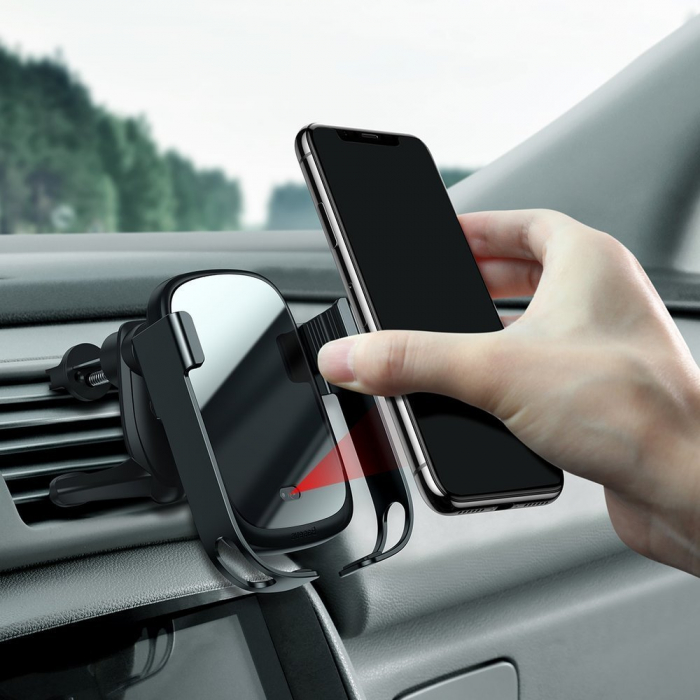 Suport auto Baseus 5in1  Wireless 10 W Qi Charger + incarcator auto + 2 prinderi +  cablu micro USB WXHW01-B01 11