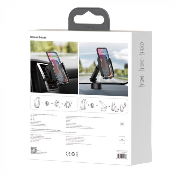 Suport auto Baseus 5in1  Wireless 10 W Qi Charger + incarcator auto + 2 prinderi +  cablu micro USB WXHW01-B01 7