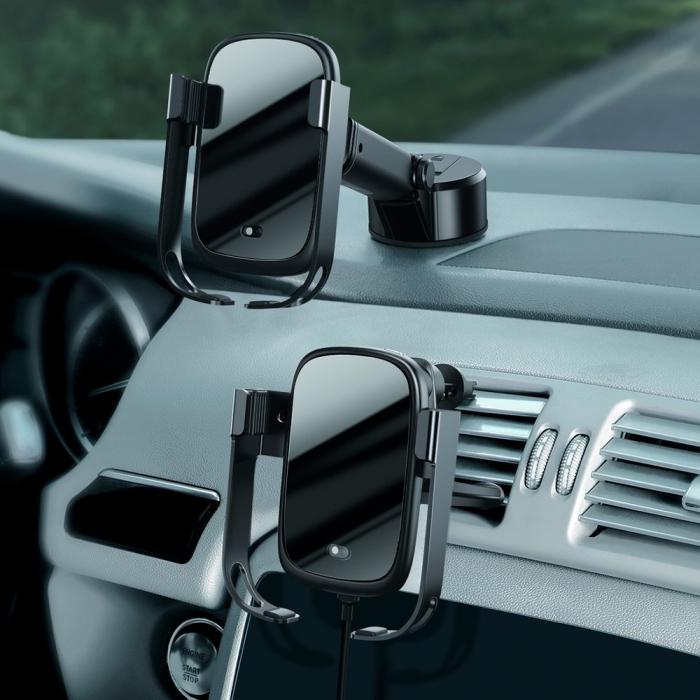 Suport auto Baseus 5in1  Wireless 10 W Qi Charger + incarcator auto + 2 prinderi +  cablu micro USB WXHW01-B01 5