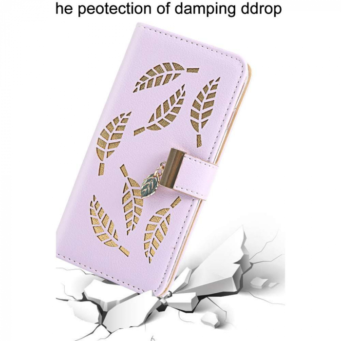 Husa Xiaomi Redmi 7A - Book Type Magnetic Leaves Pattern Pink CUBZ 0