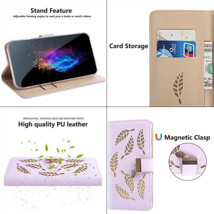 Husa Xiaomi Redmi 7A - Book Type Magnetic Leaves Pattern Pink CUBZ 3