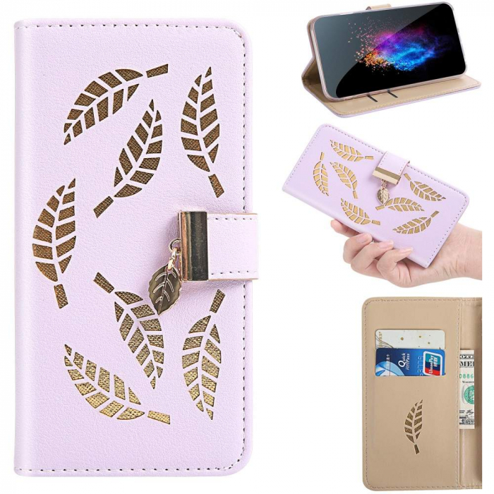 Husa Xiaomi Redmi 7A - Book Type Magnetic Leaves Pattern Pink CUBZ 5
