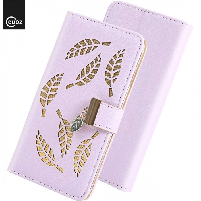 Husa Xiaomi Redmi 7A - Book Type Magnetic Leaves Pattern Pink CUBZ 6