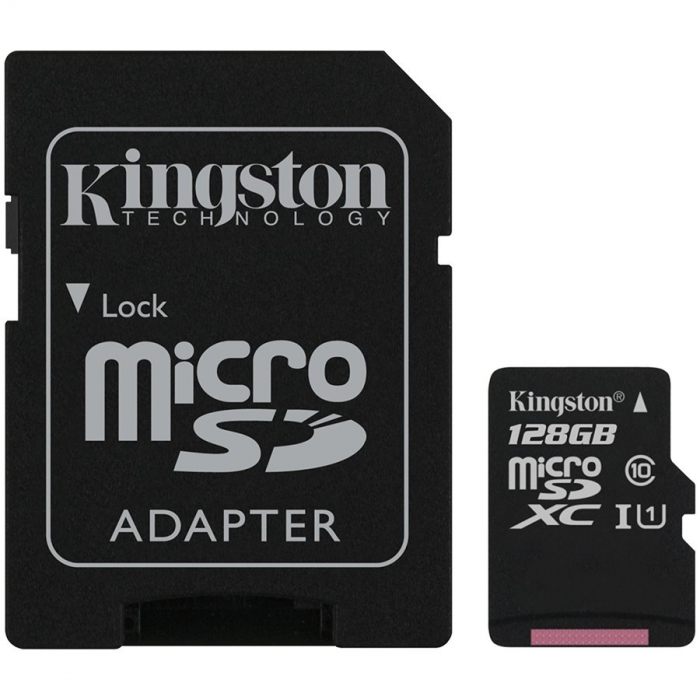 CARD MEMORIE KINGSTON 128GB MICROSD CANVAS SELECT PLUS 100R A1 C10 CARD + ADAPTOR 0