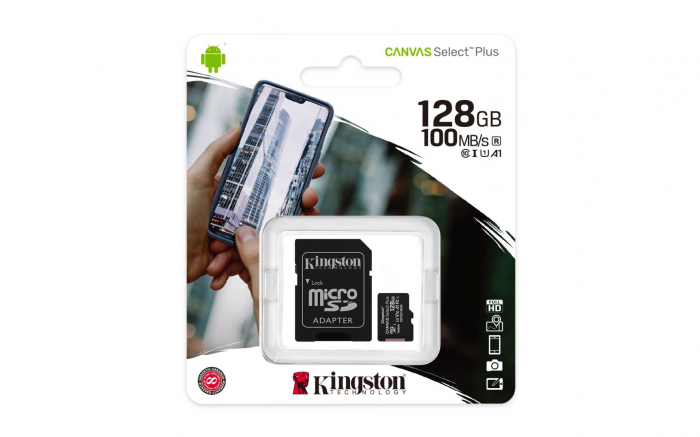 CARD MEMORIE KINGSTON 128GB MICROSD CANVAS SELECT PLUS 100R A1 C10 CARD + ADAPTOR 1