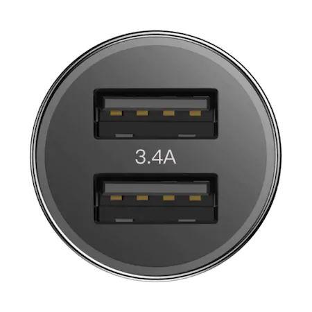 Incarcator Auto Baseus, Small Screw, Fast Charge, 2 x USB 3.4 A, Negru 2