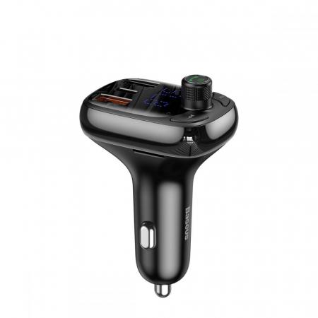MODULATOR FM BASEUS S13 2-PORT USB CAR CHARGER + TRANSMITER FM BLACK0