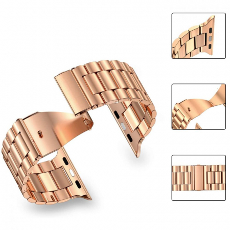 Curea otel inoxidabil Tech-Protect Stainless Apple Watch 1/2/3/4/5/6/SE (38/40mm) Rose Gold0