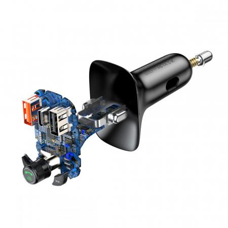 MODULATOR FM BASEUS S13 2-PORT USB CAR CHARGER + TRANSMITER FM BLACK2
