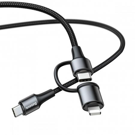 CABLU INCARCARE/DATE BASEUS 2 IN 1 USB TYPE-C/LIGHTNING 1M NEGRU3