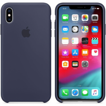 Husa Apple Silicone Case IPhone XS Max Midnight Blue1