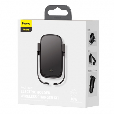 Suport auto Baseus 5in1  Wireless 10 W Qi Charger + incarcator auto + 2 prinderi +  cablu micro USB WXHW01-B016
