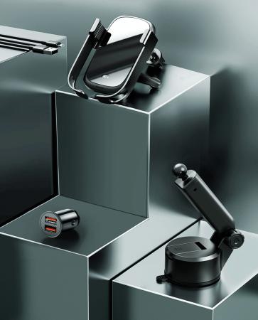 Suport auto Baseus 5in1  Wireless 10 W Qi Charger + incarcator auto + 2 prinderi +  cablu micro USB WXHW01-B018