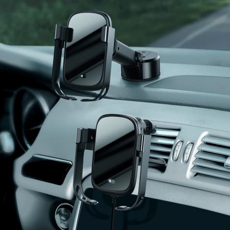 Suport auto Baseus 5in1  Wireless 10 W Qi Charger + incarcator auto + 2 prinderi +  cablu micro USB WXHW01-B015