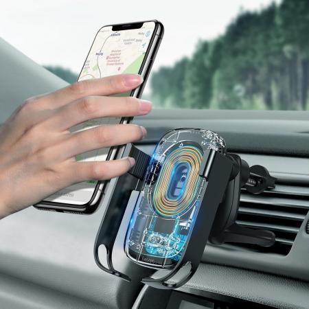 Suport auto Baseus 5in1  Wireless 10 W Qi Charger + incarcator auto + 2 prinderi +  cablu micro USB WXHW01-B0110