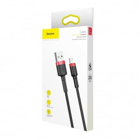 CABLU BASEUS CAFULE USB TO LIGHTNING 1.5A 2M RED-BLACK CAL-KLF-C196