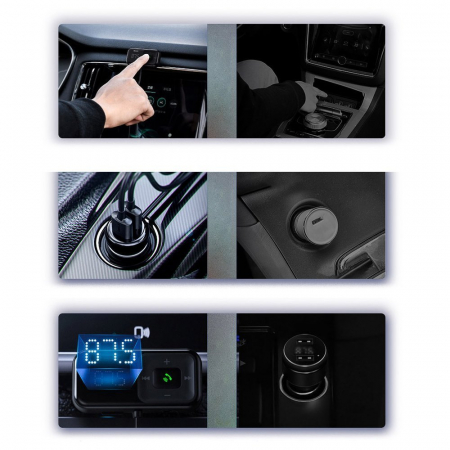 Modulator FM/incarcator auto Baseus T Typed S bluetooth 5.0 microSD jack 3.5 2xUSB 15W [7]