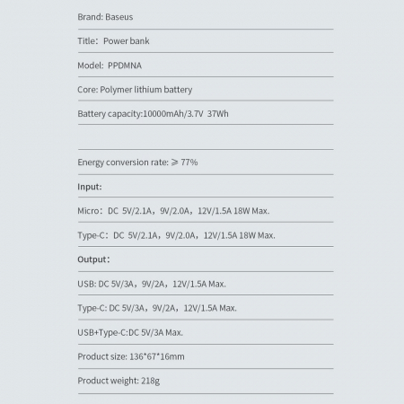 Baterie externa Baseus Bipow 10 000mAh 2XUSB 1X type C 18W [6]