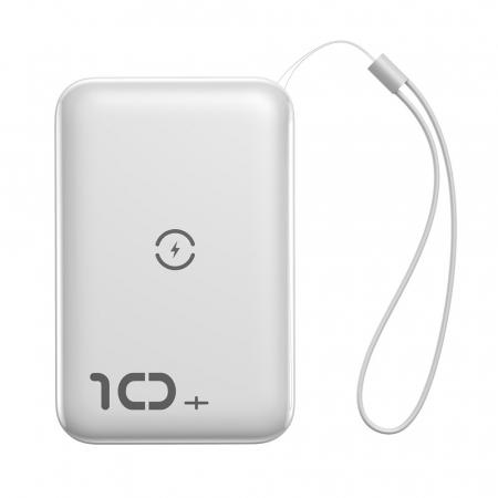 Baterie Externa Power Bank Baseus Mini S Bracket Wireless Charger Qi, 10000mAh, Alb0