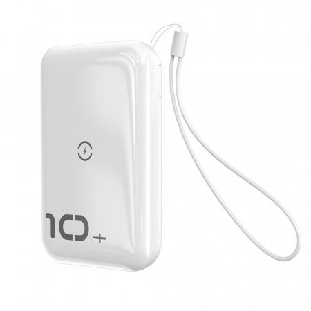 Baterie Externa Power Bank Baseus Mini S Bracket Wireless Charger Qi, 10000mAh, Alb6