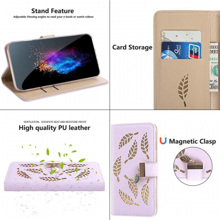Husa Xiaomi Redmi 7A - Book Type Magnetic Leaves Pattern Pink CUBZ3