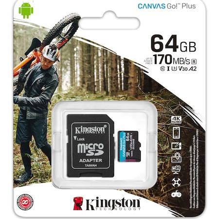Card de memorie MicroSD Kingston Canvas GO Plus, 64GB, Clasa 10, UHS-I, Adaptor inclus1