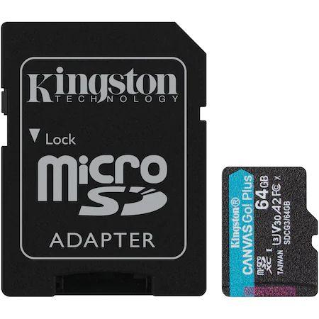 Card de memorie MicroSD Kingston Canvas GO Plus, 64GB, Clasa 10, UHS-I, Adaptor inclus0