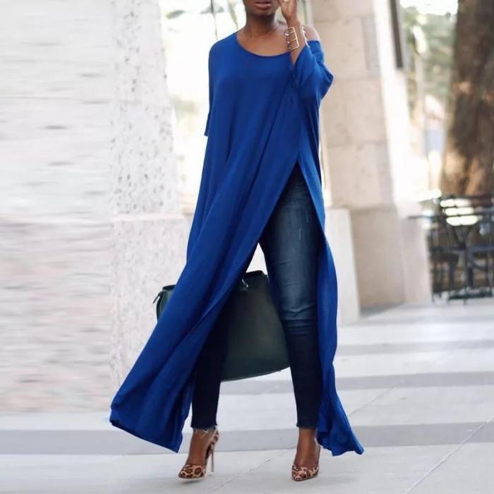 Bluza  lunga albastra, cu crapatura 0