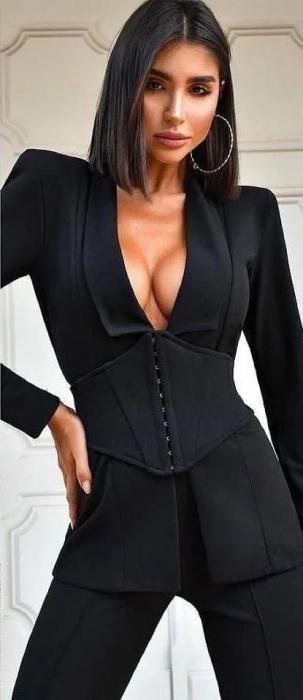 Costum Negru cu Corset Detasabil Judy [1]