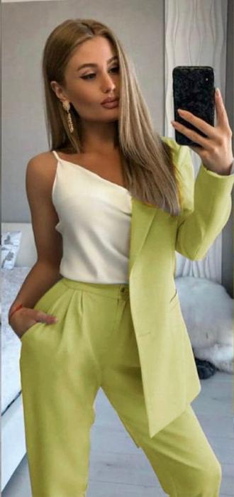 Compleu Pantaloni + Sacou Verde Noella [0]