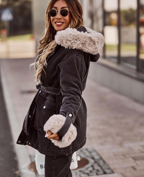 Jacheta Lunga Neagra cu Blana Ivory Clarissa 2