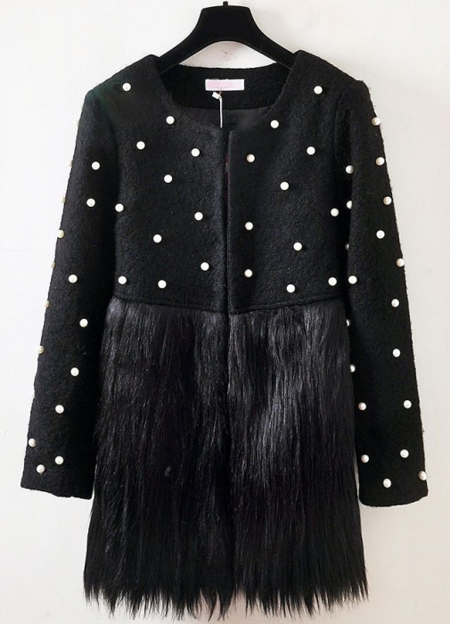 Jacheta neagra cu blana si perle ZAZA 1
