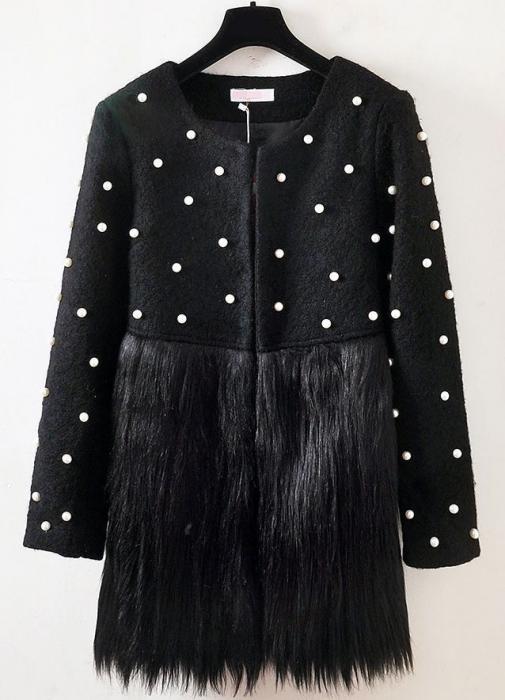 Jacheta neagra cu blana si perle ZAZA 0