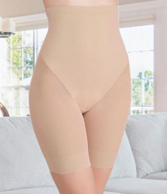 Pantalon Modelator cu Talie Inalta, Bej 0
