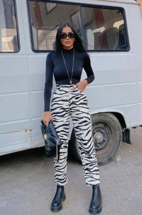 Pantaloni Zebra bej-negru [0]