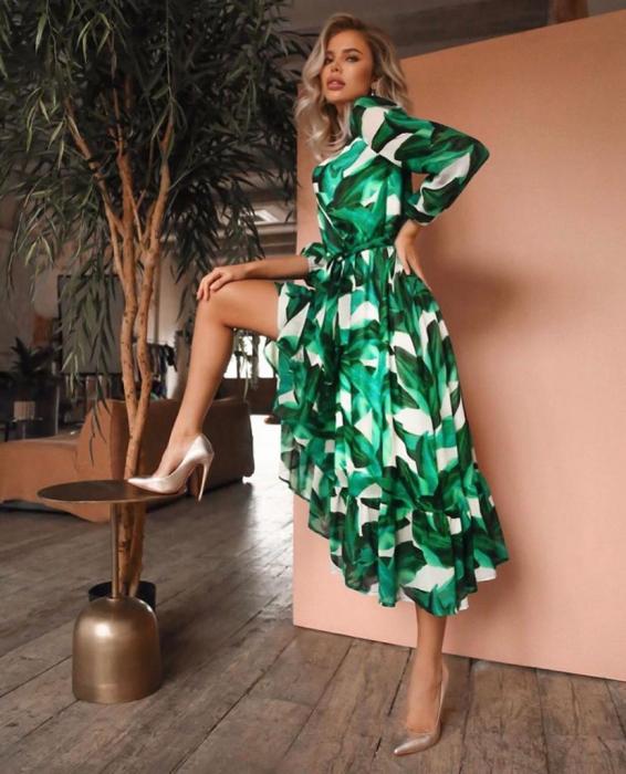 Rochie maxi din voal cu imprimeu frunze 2