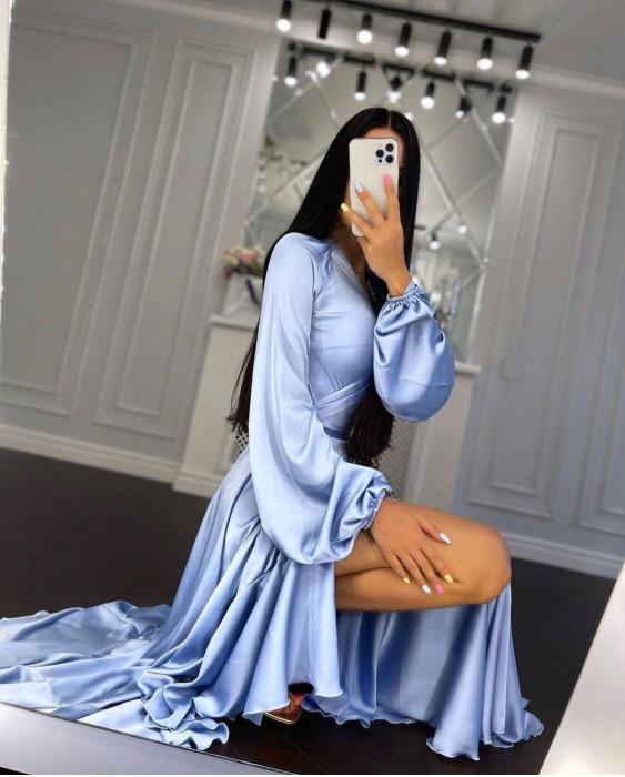 Rochie bleu din satin Donatela [0]