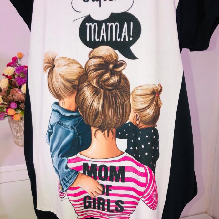 """Rochie Bumbac pentru Copii """"Mom of girls"""" Negru 0"""