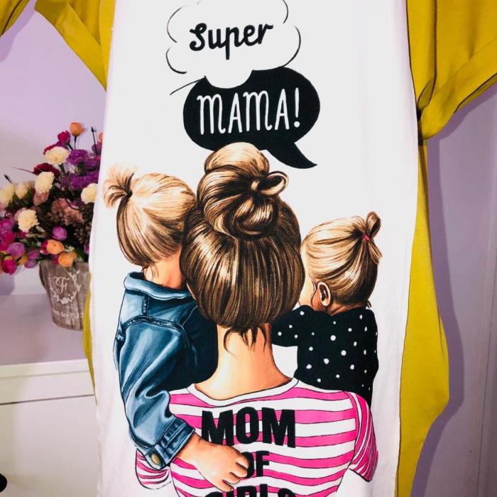 Rochie Bumbac pentru Copii Mom of girls Oliv 0