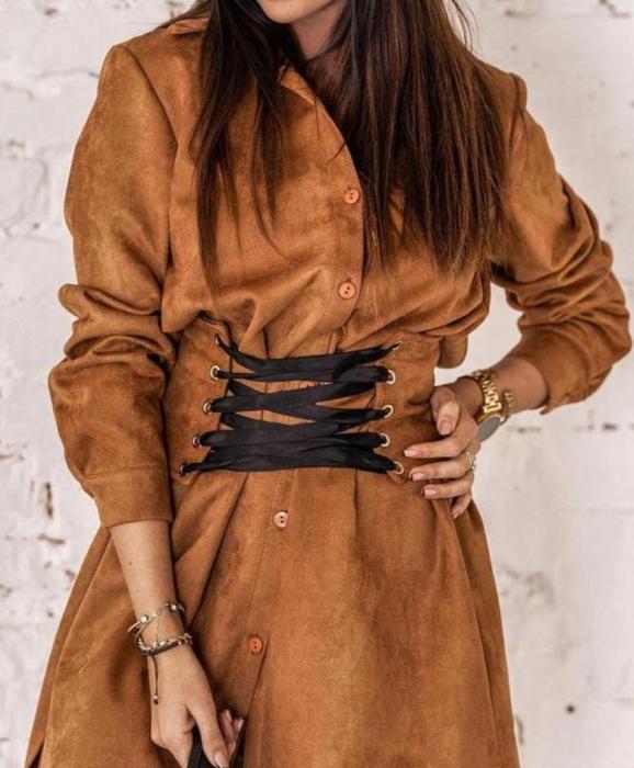 Rochie Tip Camasa cu Corset camel 0