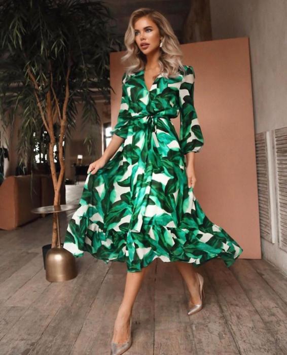 Rochie maxi din voal cu imprimeu frunze 0
