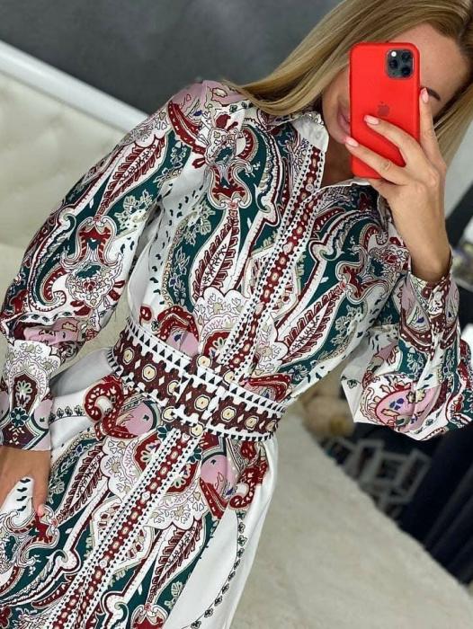 Rochie mini alba cu imprimeu floral Alya [0]