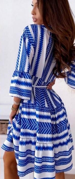 Rochie Mini Albastru/Alb Sonia [2]