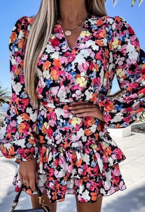 Rochie Mini cu Imprimeu Floral Elif 0