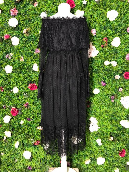 Rochie neagra din dantela cu maneca lunga 4