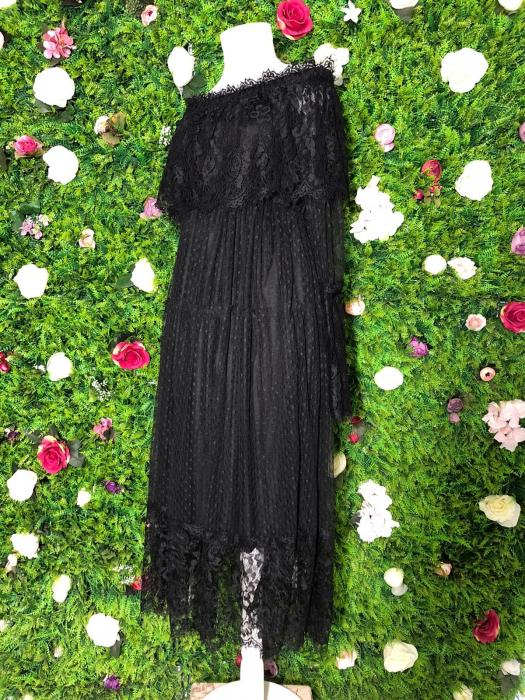 Rochie neagra din dantela cu maneca lunga 3