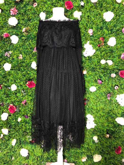 Rochie neagra din dantela cu maneca lunga 2