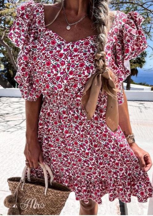 Rochie Ozana cu Imprimeu Floral, Rosu [0]